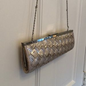 NWOT Champagne evening clutch